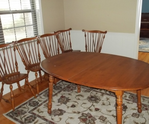 Vintage Ethan Allen Maple Dining Table Fiddleback Chairs